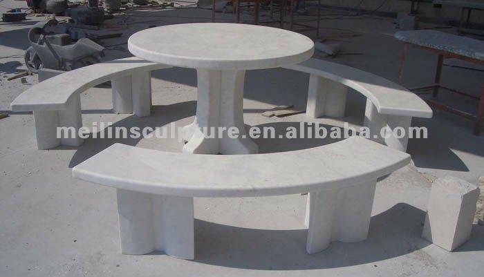 M rmol blanco al aire libre mesa y curva banco buy for Fabrica de marmol y granito