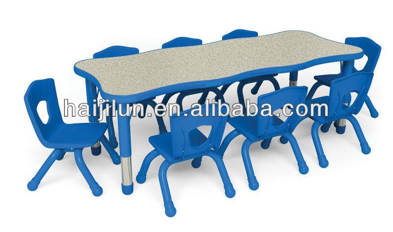 Elegant Colorful Long Table For 10 Kids,MDF Waved Board