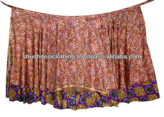 Vintage Silk Saree Sari Reversible Wrap Dress Skirt