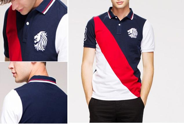 Color combination mens pique embroidered polo shirts logo for Polo shirt logo design
