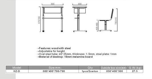 Elementary Classroom Design Standards ~ Kz d school furniture standard size of desk buy