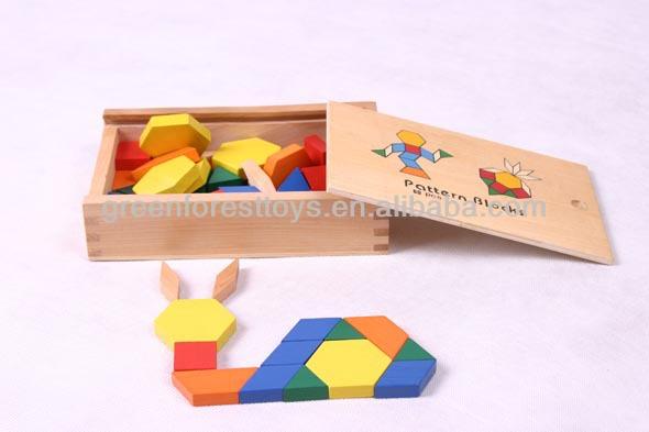 Best Selling ASTM Certified Toy Birch Wood 60Pcs Pattern Blocks Intelligent Toy For Kids
