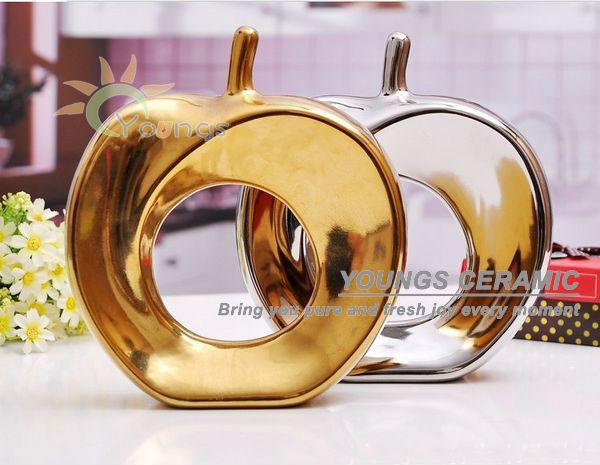 chinois or et argent couleur moderne de pomme en cramique pour dcoration - Pomme Ceramique Pour Decoration