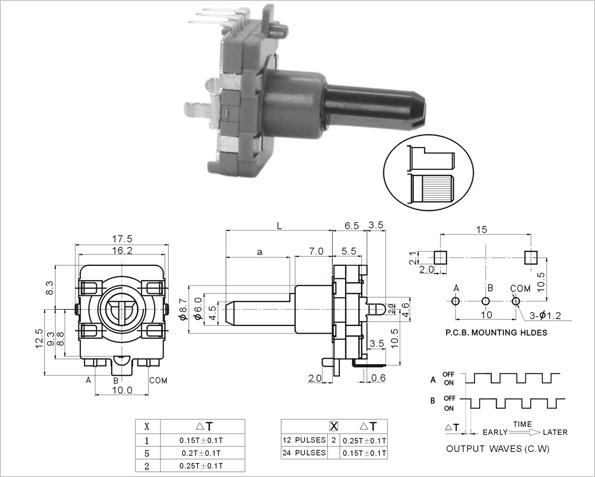 16mm rotary encoder ec162102h1b-ha1