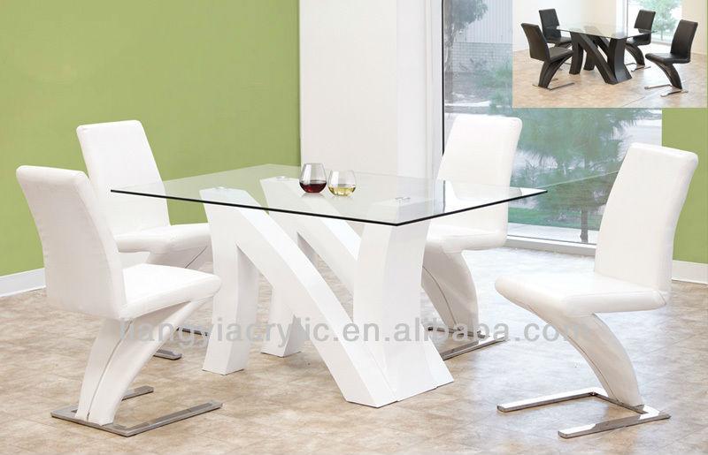 Modernas mesas e cadeiras de laca branca w tampo de vidro - Mesas de sala modernas ...
