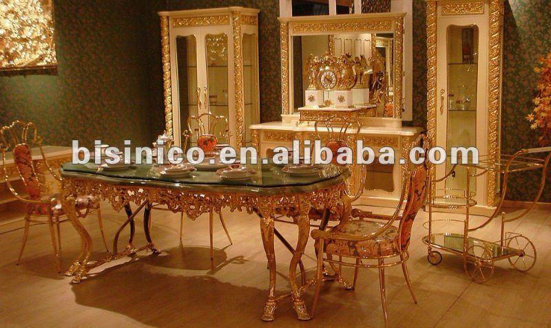 Luxe Italie Style 24 K Plaque Or Cuivre Salle A Manger Ensemble De