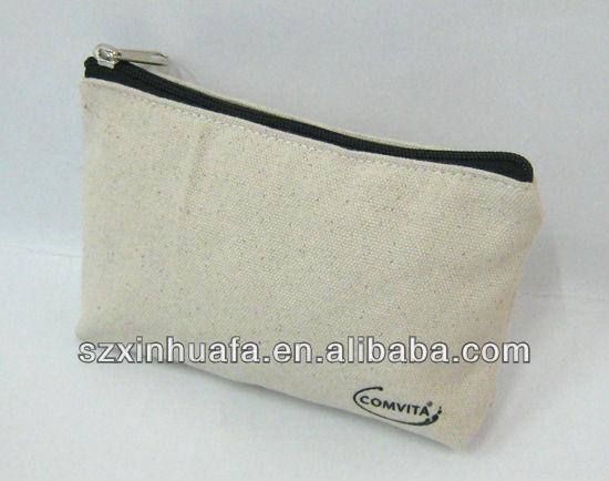 (XHF-COSMETIC-418) natural material cosmetic bags canvas tool kit bag plain cosmetic bag