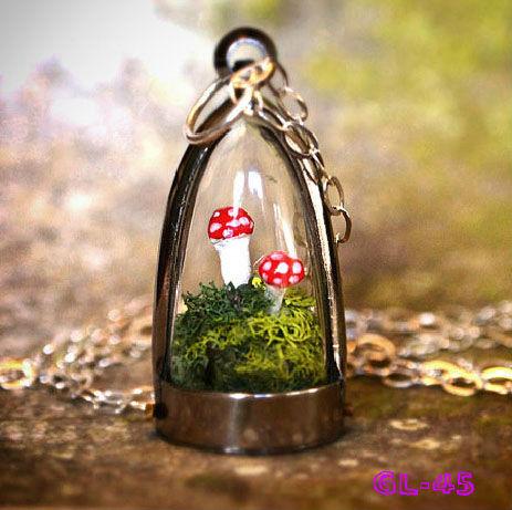 Flower Glass Bottle Charm Deco Miniature Jar Vial Terrarium Pendant