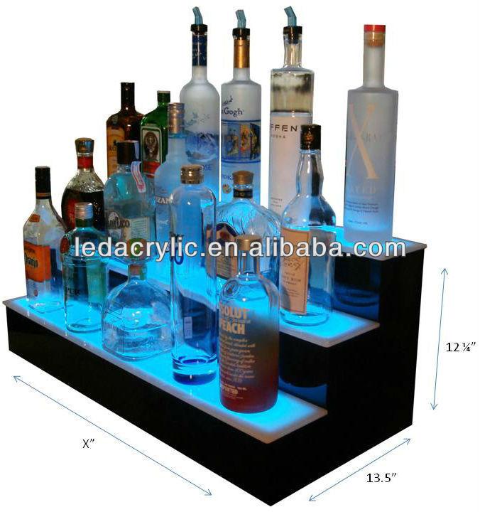 Illuminated Floating Light Shelf Display Led Liquor Cabinet Bottle ...