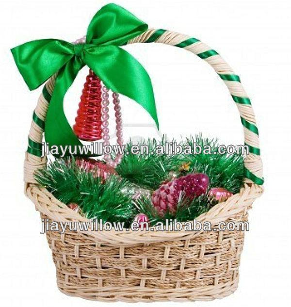 Christmas Empty Willow Handmade Decorate Flower Basket