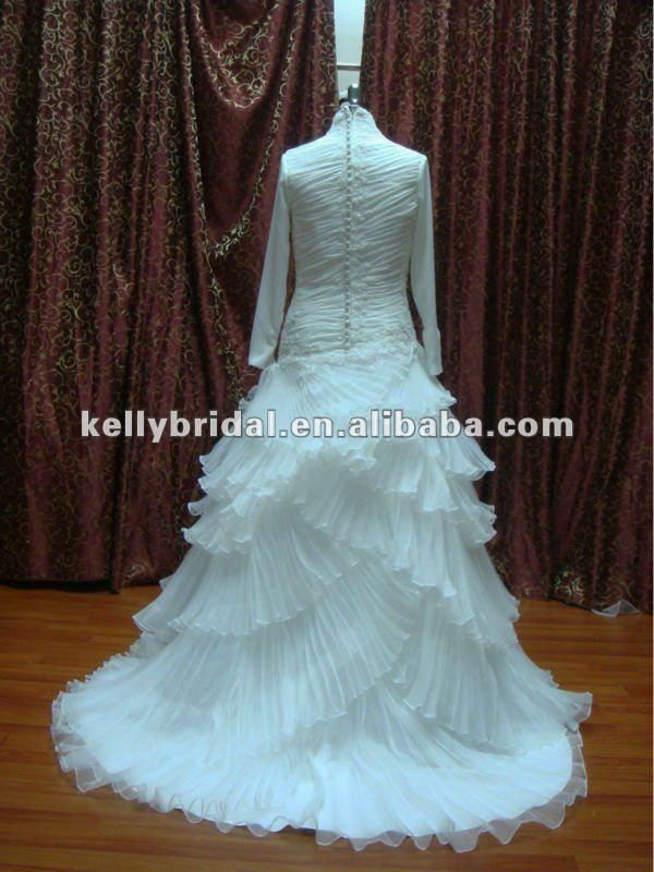 Organza Modest Bridal Dress Muslim Long Sleeves Nice Pleating High Neckline Wedding Gown - Buy Organza Modest Bridal Dress,Elegant Long Sleeve Wedding ...