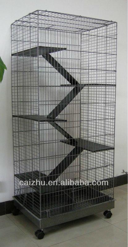 5 Levels Wooden Ladder Big Metal Ferret Chinchilla Hamster