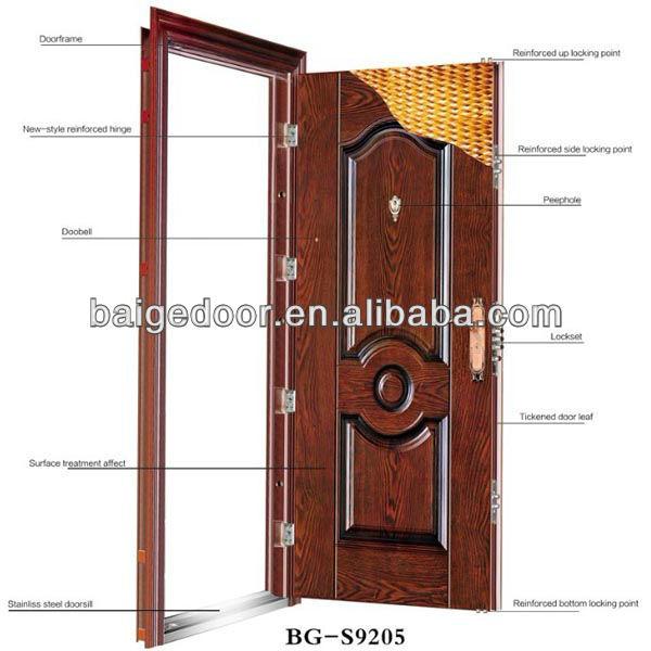 Metal Double Doors bg-s9111 indian door designs metal double doors exterior - buy