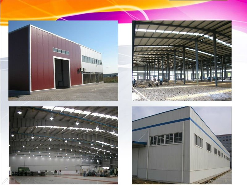 50mx16mx5.72m light steel structure warehouse with fiberglass wool sandwich panel