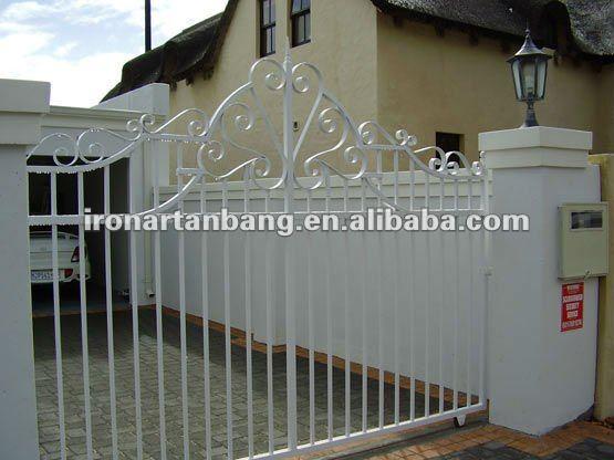 Ornamental White Cast Iron Sliding Gate Design G 0067