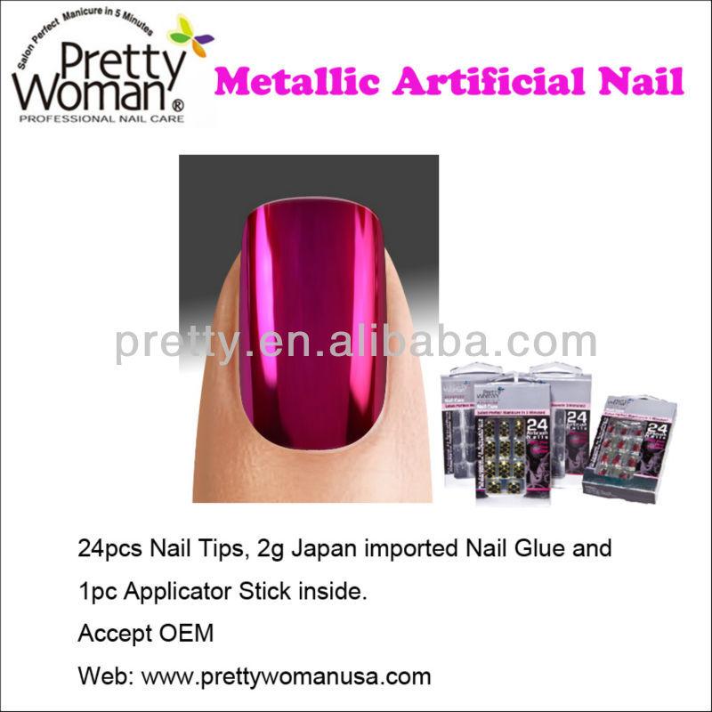 24pcs Metallic Types Of Artificial Nails Pretty Woman Best Fake ...