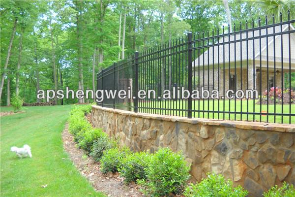 Height x length black metal tubular fence buy - Cercas de hierro ...
