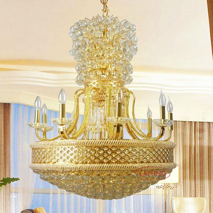 2018 Hotel Lobby Gold Chandelier Lamp Big Modern Crystal