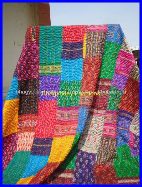 Sari Silk Patchwork Quilts Throw Vintage Kantha Quilt Indian Quilt ... : indian sari quilts - Adamdwight.com