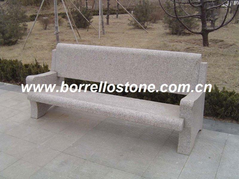 Piedra banco del parque con la espalda buy product on for Bancos de piedra para jardin