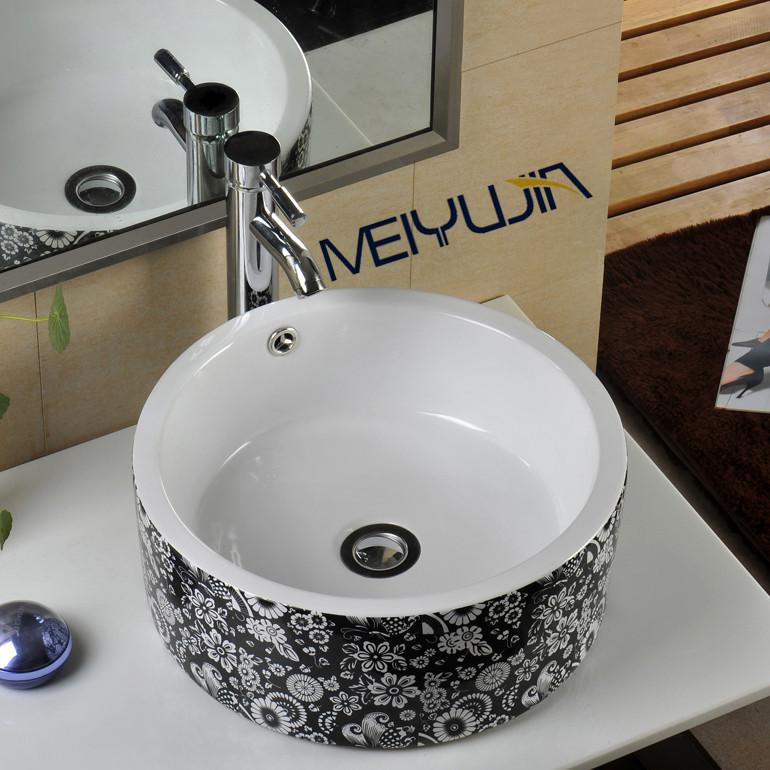Basin Design Black Flower Artistic Basin Hand Wash Basin