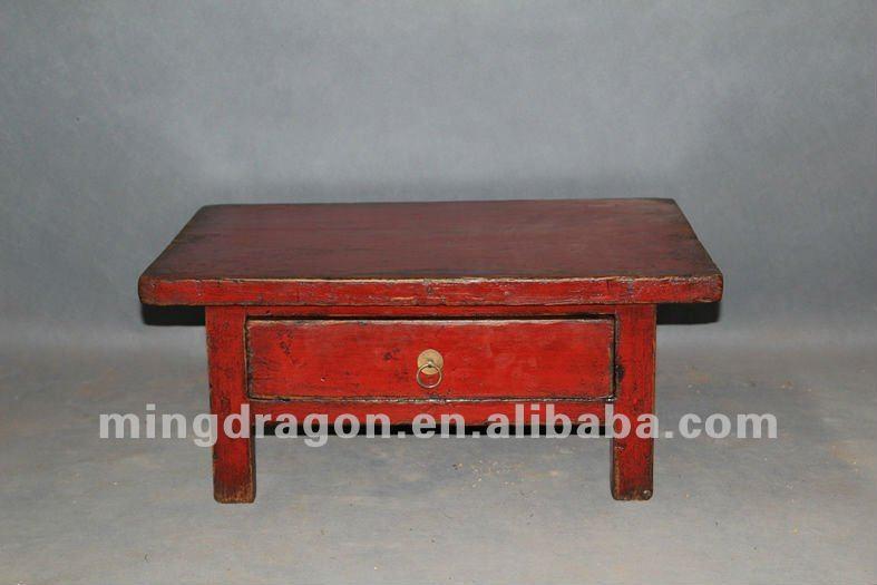 Muebles Antiguos Chinos Pino Reciclaje De Madera Rojo Mesa De Café ...