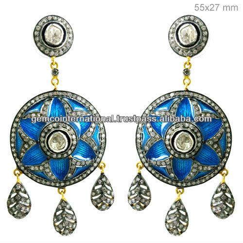 14k Yellow Gold Pave Diamond Gemstone Turquoise Dangle Earring 925 ...