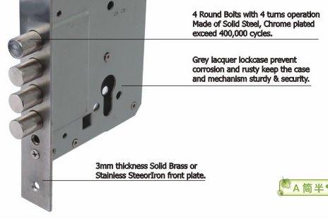 Trust 70mm Backset 4 Round Bolt Double Mortise Lock