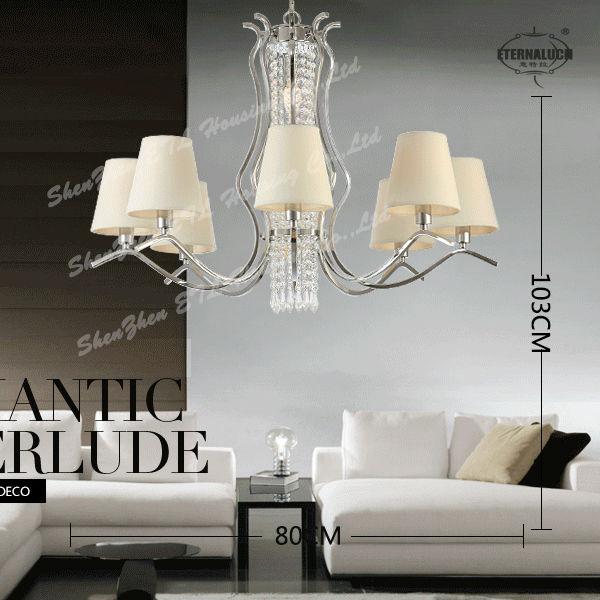 Fantaisie moderne k9 lustres en cristal luminaires avec for Lustre moderne pour salon