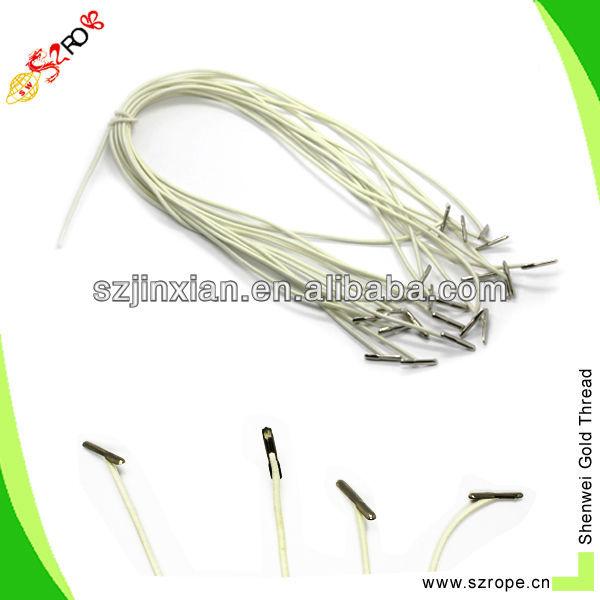 Elastic bag handle cord with barb crimp