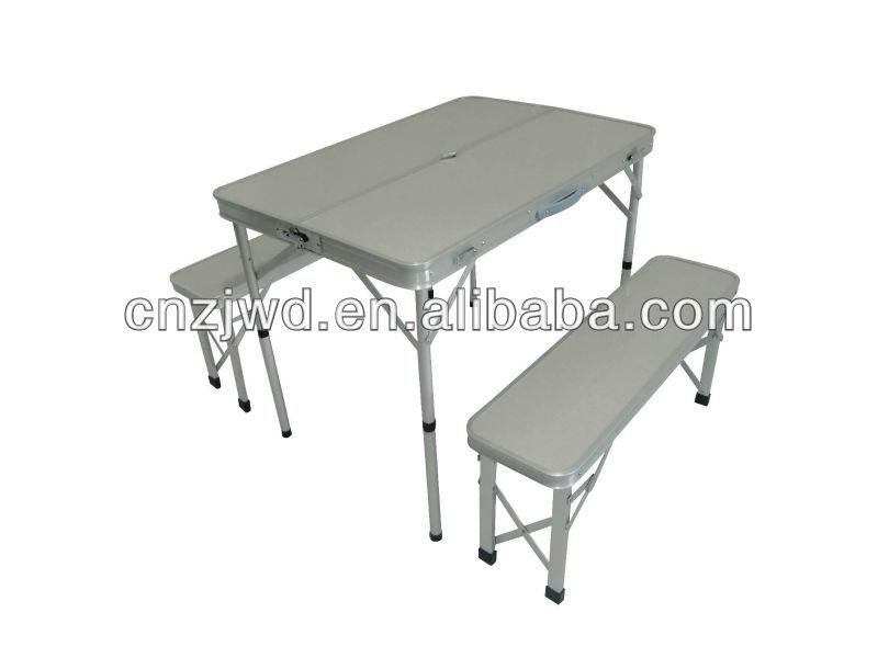 aluminium table pliante de camping avec deux longues banc - buy