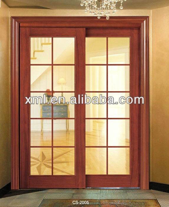 Interior decorative glass insert solid wood sliding doors for Decorative interior wooden doors