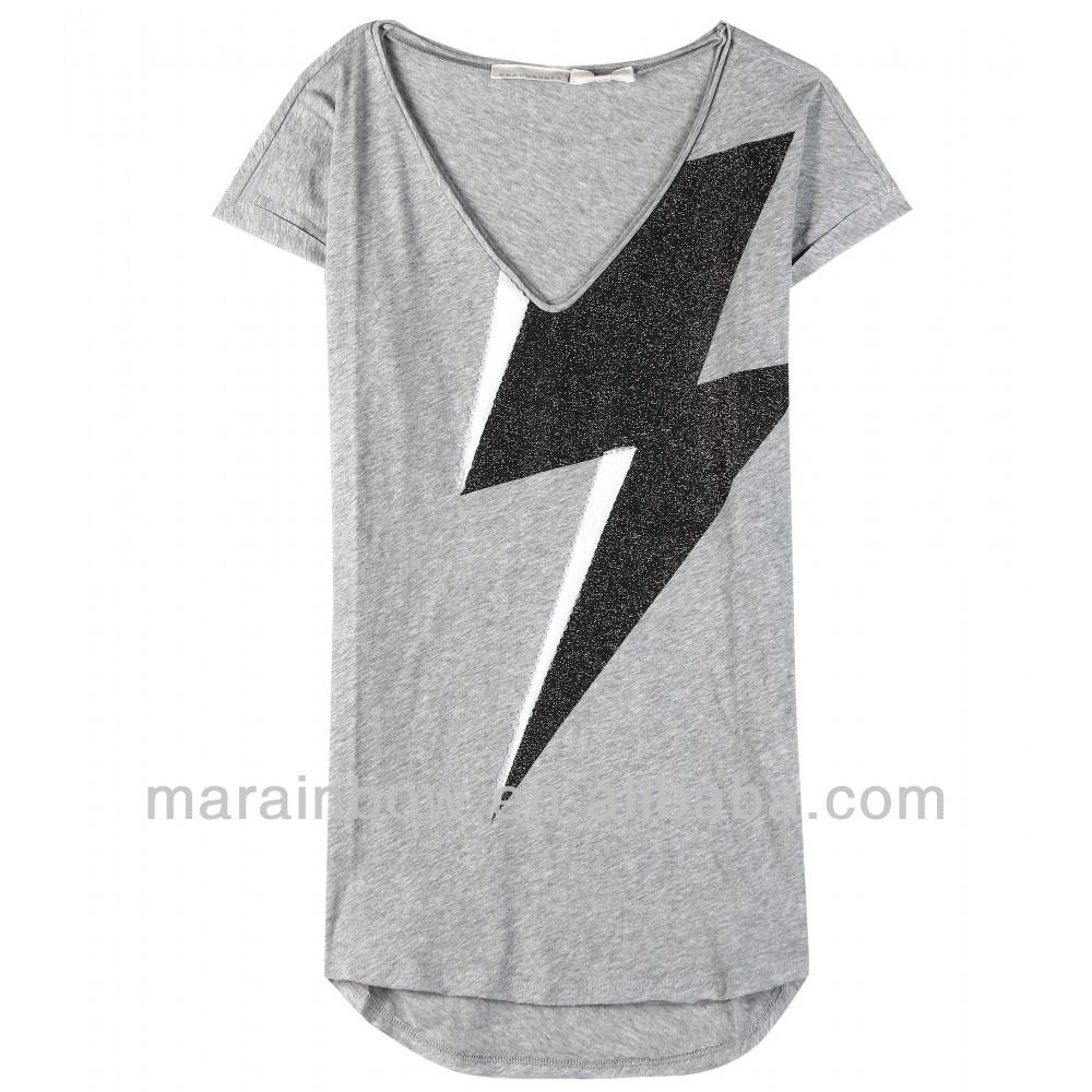 Design shirt v neck - Oem Fashion Design Women Deep V Neck 100 Cotton Grey Color Printed Jersey T