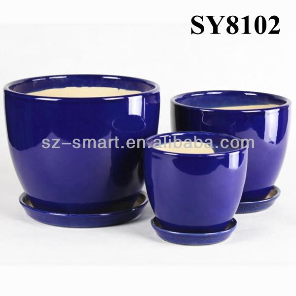 Royal Blue Glazed Indoor Decorative Flower Pots Planters