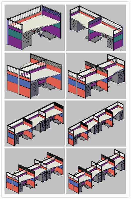 Hete verkoop hoge kwaliteit cluster van 4 staff cabines for Ladeblok in karton