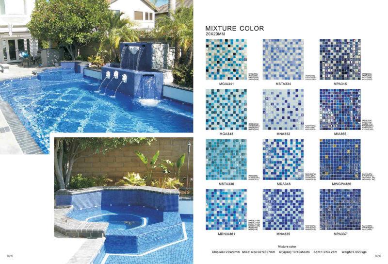 hot glass mosaic glass tile dots series blue mixture swimming pool mosaic tiles