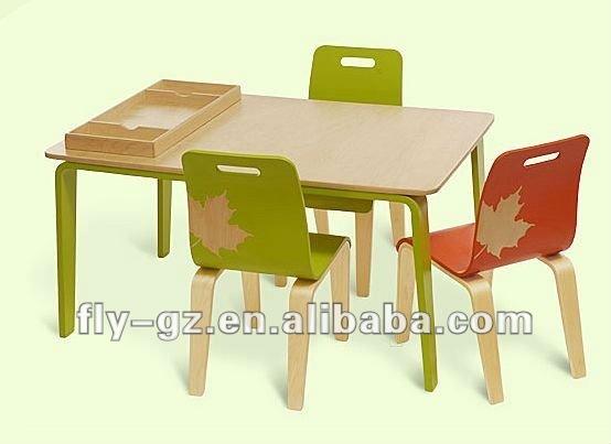 En Bois Enfants Tude Table Avec Des Chaises Pour La