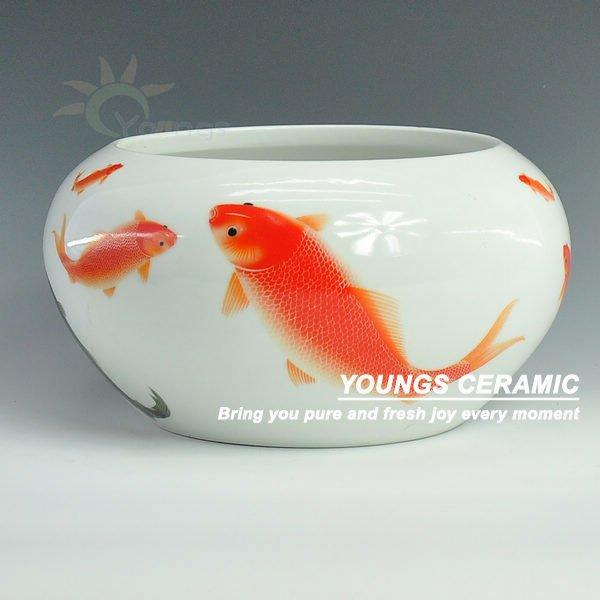 Beautiful jingdezhen white ceramic small fish bowls buy for Small fish bowl