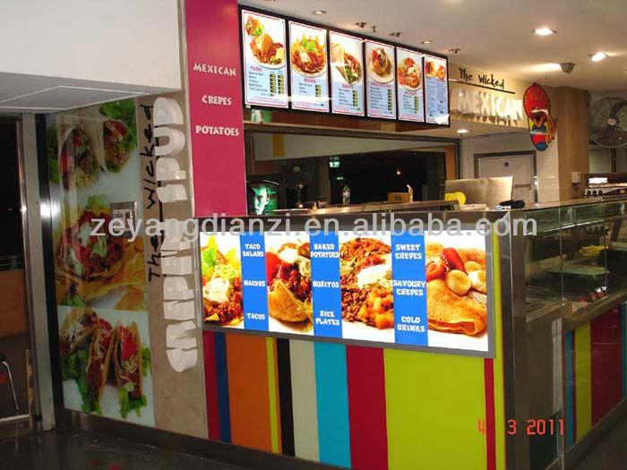 New Business Ideas Fast Food Led Backlit Menu