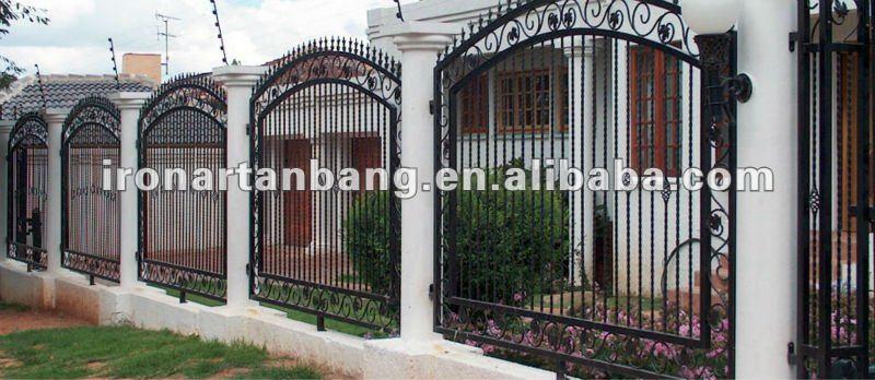 elegant wrought iron garden fence panel f1081