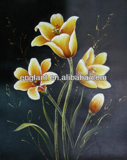 asequible y jarrones con flores pintura al leo