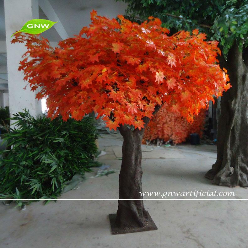 gnw btr050 artificial autumn trees yellow banyan leaf decorative