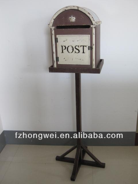 Hongwei antiguo hecho a mano vintage brown poste de madera caja buz n carta para hogar y jard n - Buzon vintage ...
