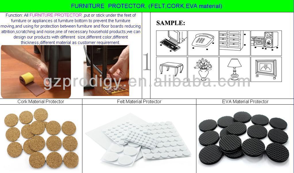 Cork Material Adhesive Furniture Bottom Pad Furniture Adhesive Felt Pads