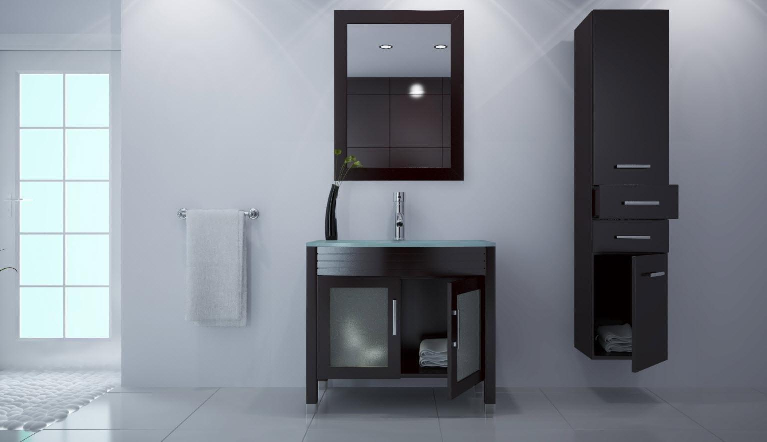 blanco de alto brillo de madera maciza muebles de bao