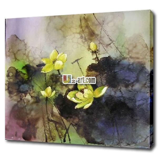 Lotus Flower Abstract Art Handmade Oil Painting