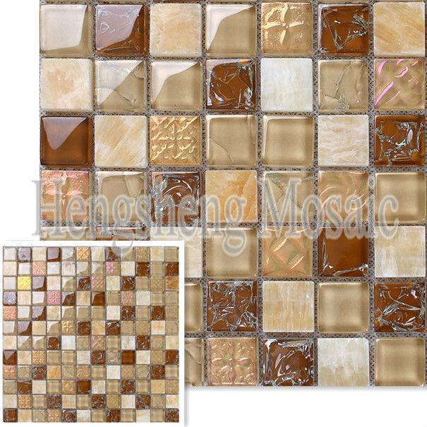 Beige Colore Crackle Pietra Mix Di Vetro Mosaico Piastrelle Cucina A ...
