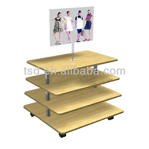 TSD W1009 Custom Garment Cloth Retail Display Rack/wooden Retail Display  Table/wholesale