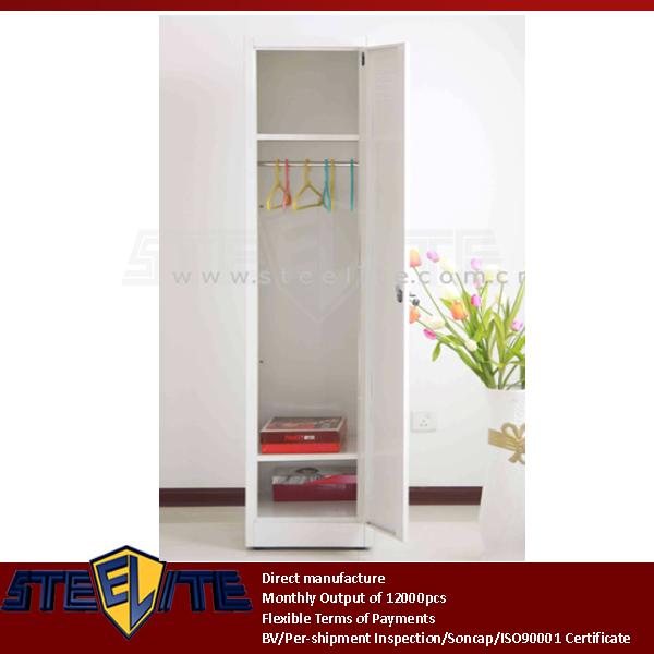 Vertical Slim 1 Door Steel White Nursery Wardrobe Self Assembly White Thin One Door Metal