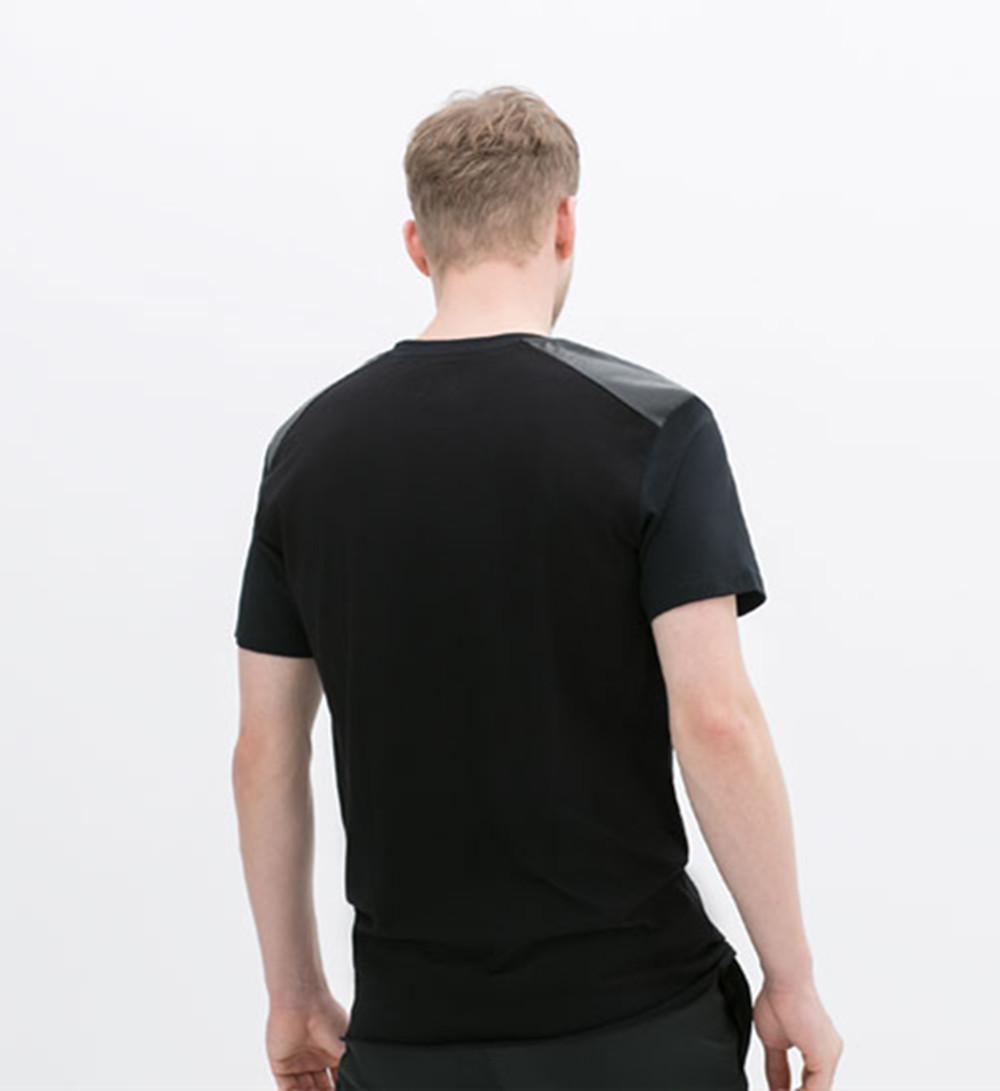 Shirt design new 2014 - 2014 New Design Men Fashion Leather Shoulder T Shirt